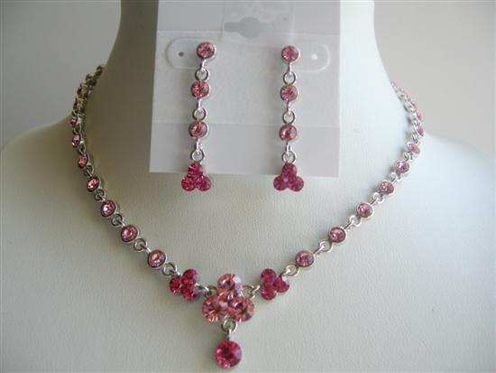 Primary image for Vintage Pink Crystal Jewelry Adorned Lite & Dark Fushcia Pink Crystal