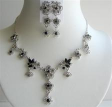 Silver Casting Necklace Set w/ Jet Crystals - $34.18