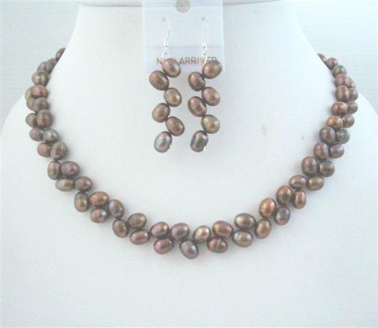 Primary image for Brown Meatallic Head Drilled Freshwater Pearls Necklace w/ Earrings