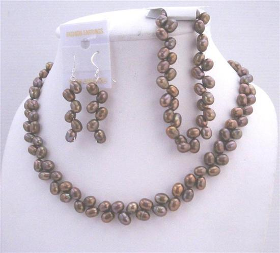 Primary image for Rice Freshwater Pearl Head Drilled Metallic Brown Necklace Earrings &