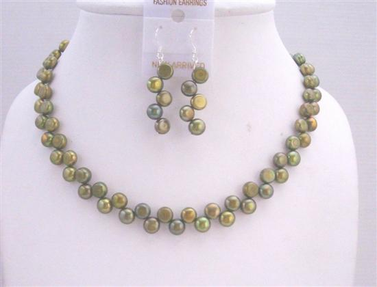 Primary image for Handmade Dyed Freshwater Coin Pearl Metallic Olivine Necklace & Sterli