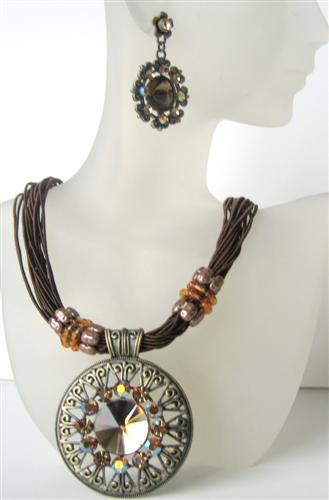 Brown Multi Strands Necklace w/ Striking Pendant Brown Crystal & Rhine