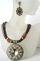 Brown Multi Strands Necklace w/ Striking Pendant Brown Crystal & Rhine - $28.98