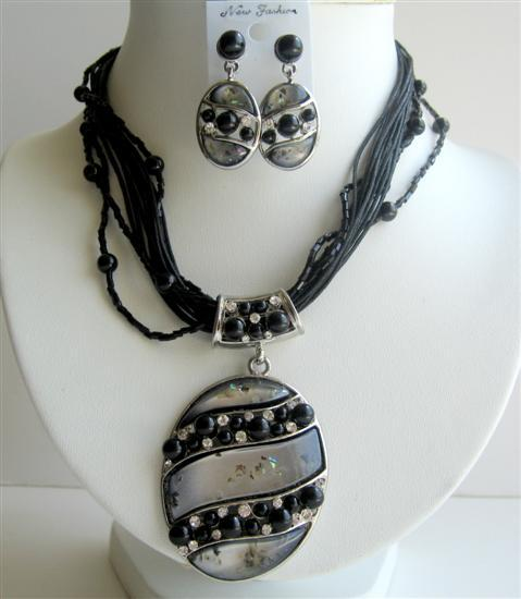 Primary image for MultiStranded Black Necklace w/ Shell Painted Necklace & Earrings