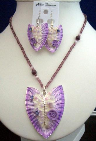 Primary image for Purple Shell Enameled Necklace & Earrings