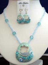 Necklace Set Artform Turquoise Crystals Shell & Bead w/ Enameled Shell - $17.30