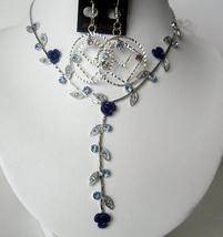Vintage Necklace Set Adoorned w/ Brilliant Sapphire Aqua Blue Crystals - $17.30