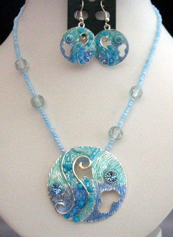 Primary image for Artform Necklace Set In Turquoise Shell & Bead Crystal w/ Enameled She