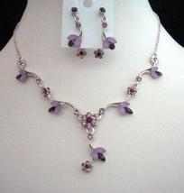 Gorgeous Delicate Purple Crystals Necklace Earrings Set - $22.48