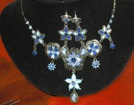 Blue Enamel Plating Rhinestones Set - $18.60