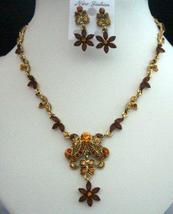 Vintage Necklace Set in Smoked Topaz Light & Dark w/ Antique Gold - $28.35