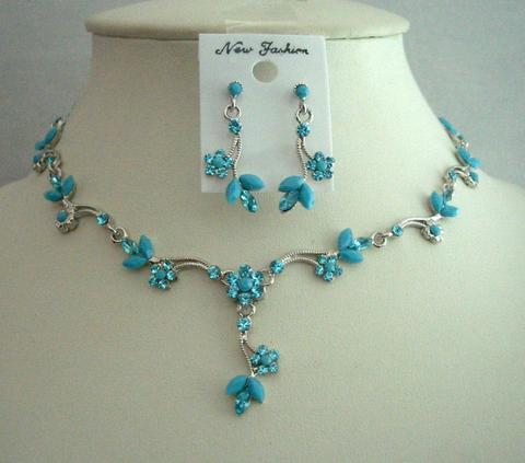 Primary image for Smashing Cool Summer Color Aquamarine Turquoise Necklace Set