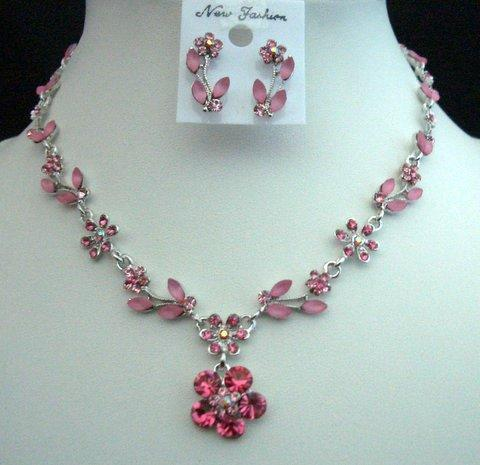 Primary image for Unique Vintage Looking Necklace Set Adorned Spectacular Pink Crystals