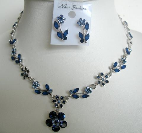 Primary image for Blue Enameled & Sapphire Crystals Necklace & Earrings Set