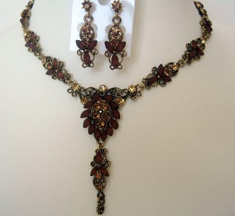 Primary image for Lovely Necklace Set Copper & Gold Crystals Artoform Jewelry