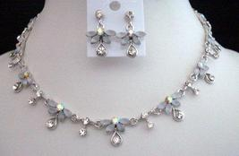 Necklace Set Opal White Enamel & Crystal Necklace & Earrings Set - $29.00