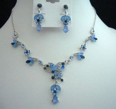 Victorian Sapphire & Aqua Blue Rhinestones Necklace & Earrings Set - $25.10