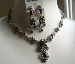 Black Vintage Victorian Style Necklace Earrings Set - $29.00
