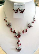 Exquisite Red Butterfly Rhinestones Necklace & Earrings Set - $25.10