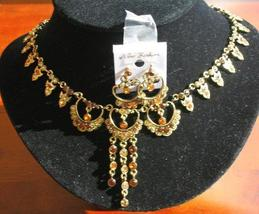 Exquisite Gold Tone Set w/ Copper Rhinestone Jewelry - $30.30