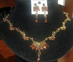 The antique Designed Jewelry of Gold Plaed Necklace & Earrings - $35.50