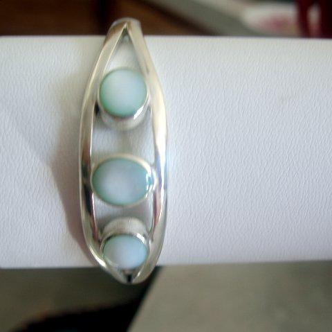 Primary image for 3 Stone Lite Green Turquoise Sterling Silver 92.5 Cuff Bracelet