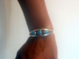 Bracelet Cuff in Sterling 92.5 Stamped w/ Turquoise Stone - $25.10