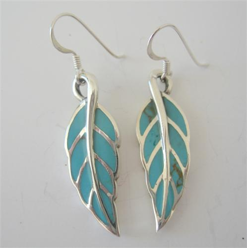 Primary image for Green Turquoise Sterling Silver Inlaid Leaf Shaped Earrings