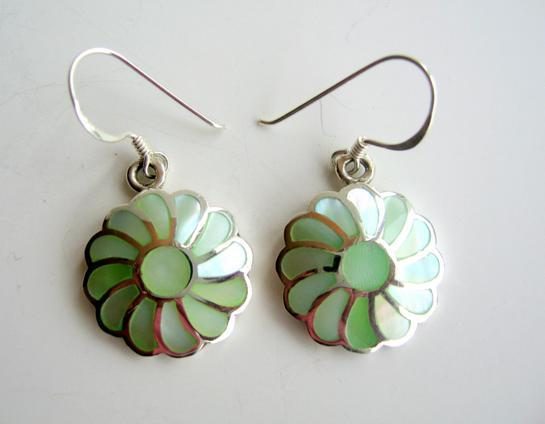 Primary image for Inlay 925 Sterling Silver w/ Green Mother Of Pearl Flower Earrings