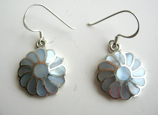 Primary image for 925 Silver Flower with Mother Of Pearls Inlay Earrings