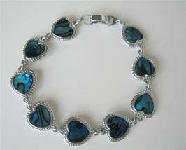 Simulated Blue Mother Shell Heart Bracelet 7 Inches Long Bracelet - $8.18