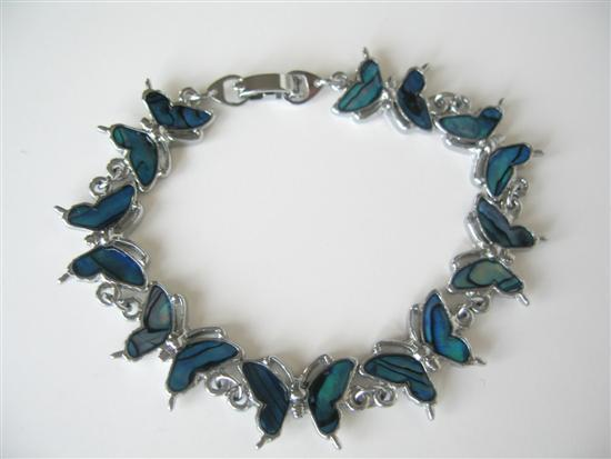 Primary image for Blue Mother of Shell Butterfly Bracelet 7 Inches Long Bracelet