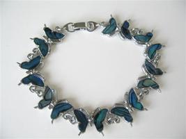 Blue Mother of Shell Butterfly Bracelet 7 Inches Long Bracelet - $8.18