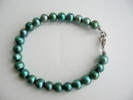 Freshwater Pearls Jewelry Green Metallic Pearls Bracelet - $8.83