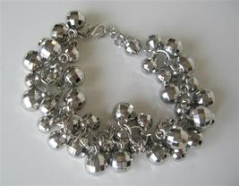 Clasi Many Multi Round Silver Plated Rhodium Beads Dangling Bracelet - $8.83