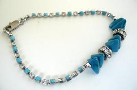 Simulated Filgree Bracelet Turquoise Stone Bead Cubic Zircon Bracelet - $8.85