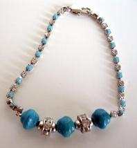 Filgree Bracelet Simulated Turquoise Stone Bead Cubic Zircon Bracelet - $8.85