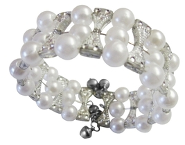 Cream Simulated Pearls & Grey Classy Cuff Bangle Stretchable Bracelet - $6.88
