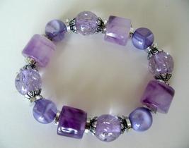 Purple Stretchable Bracelet Multi Shapes Blue Lucite Beads Bracelet - $8.20