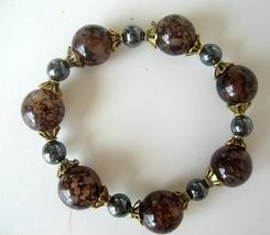 Wooden Lucite Beads w/ Antique Gold Bead & Pearl Stretchable Bracelet - $7.55