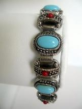 Bracelet Simulated Turquoise Stone & Red Coral Bead Oxidized Bracelet - $8.85