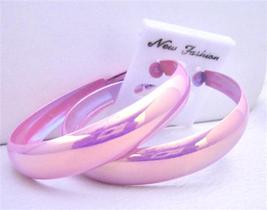 Pink Sparkling Round Hoop Earrings 2 Inches Diameter Earrings - £3.77 GBP