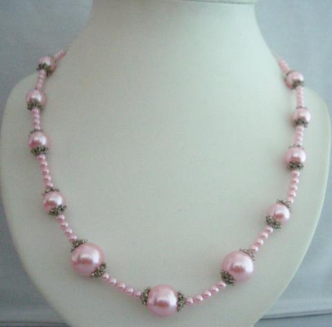 Primary image for 20 Inches Pink Long Stunning Cultured Pearls Necklace w/ Bali Metal