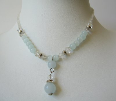 Primary image for White Beaded Necklace w/ Simulated Crystals Choker Drop Down