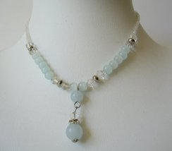 White Beaded Necklace w/ Simulated Crystals Choker Drop Down - $8.18