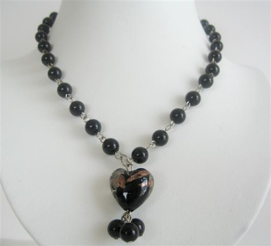 Primary image for Black Cultured Pearl 8mm Beads w/ Heart Pendant Dangling Necklace
