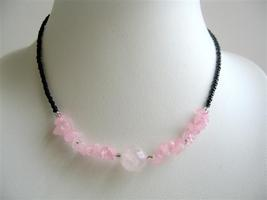 Rose Quartz Nugget & Stone Chip Necklace Faceted Beads Necklace - $6.88