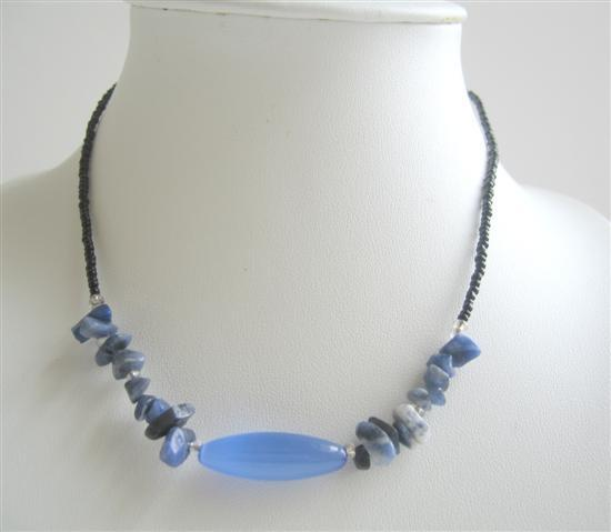 Primary image for Nuggets Blue Stone Beaded Necklace Simulated Millefiori Choker
