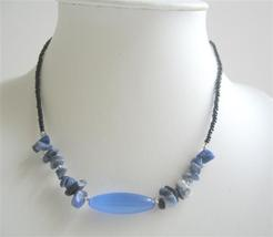 Nuggets Blue Stone Beaded Necklace Simulated Millefiori Choker - $6.88