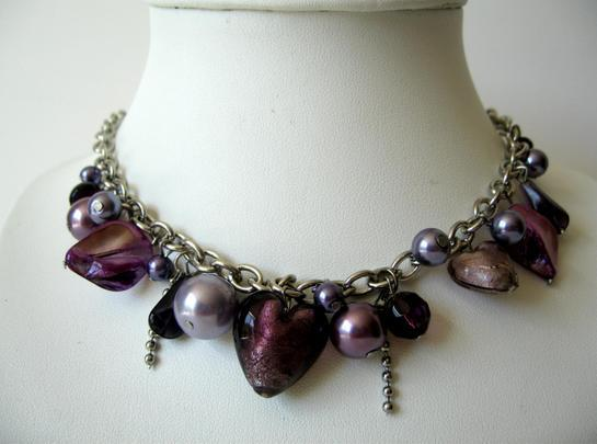 Multi Color Purple Beads with Shell & Simulated Crystal Necklace